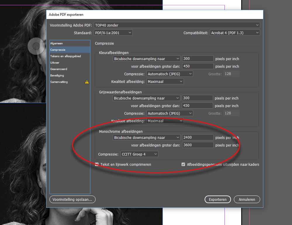 Adobe PDF exporteren - downsampeling